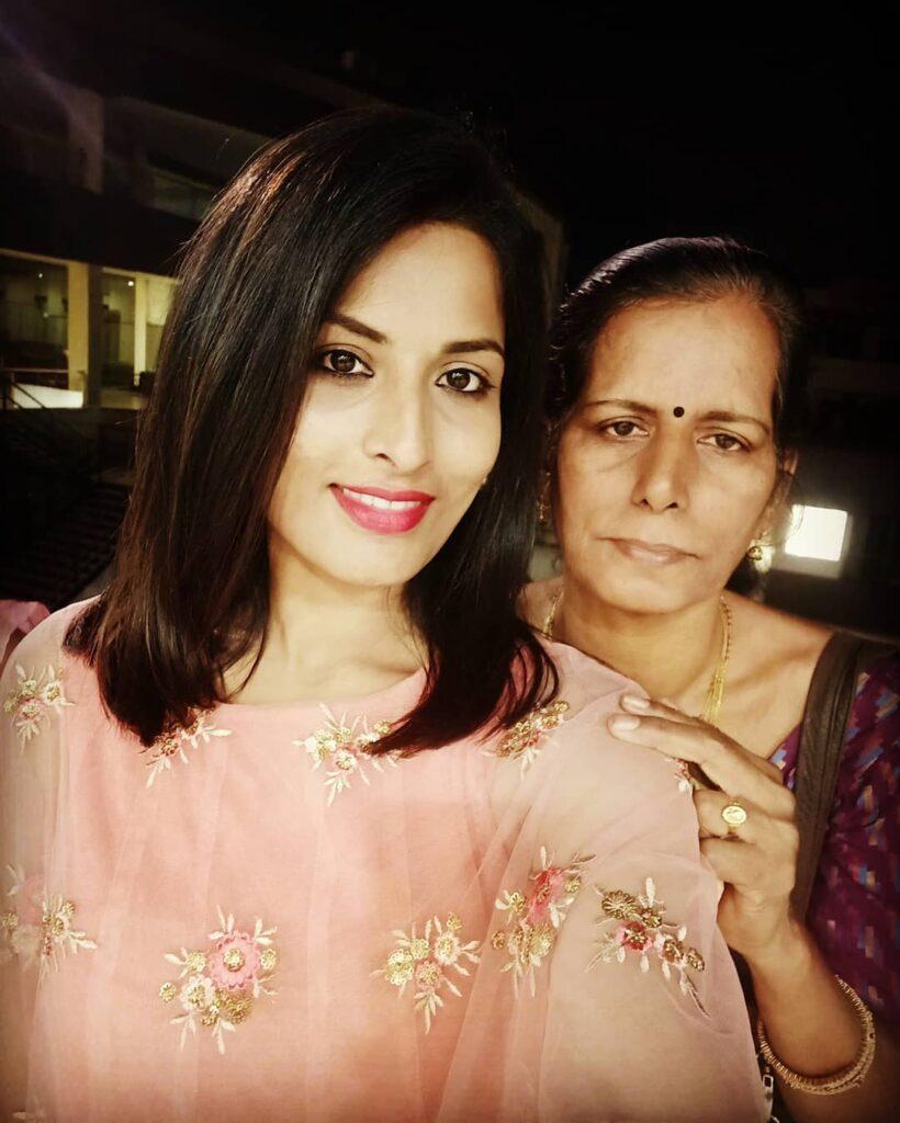 Pratyusha with her Mother