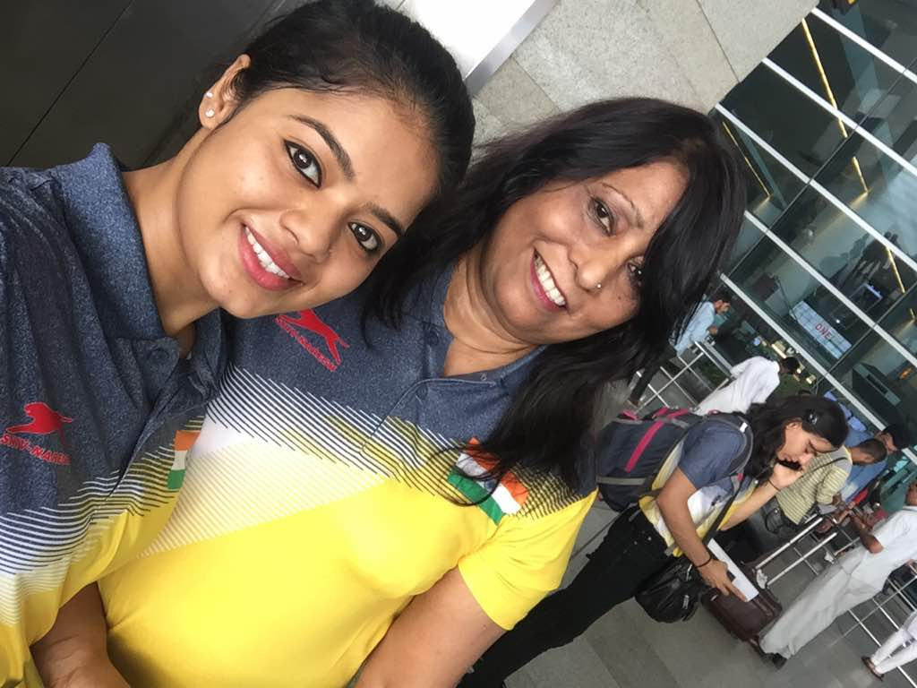 Pranati Nayak with her coach Minara Begum