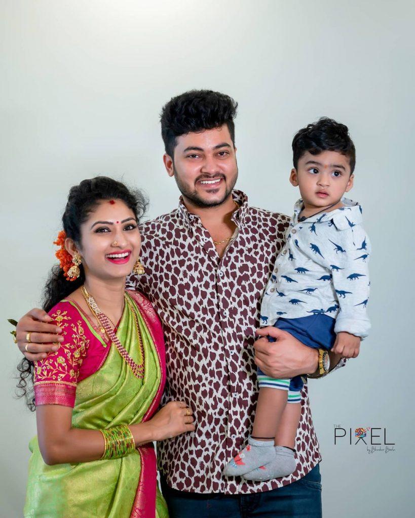 Serial Actress Vishnu Priya with her husband Siddharth Varma and Son