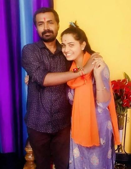 Monitha aka Shobha Shetty with her brother