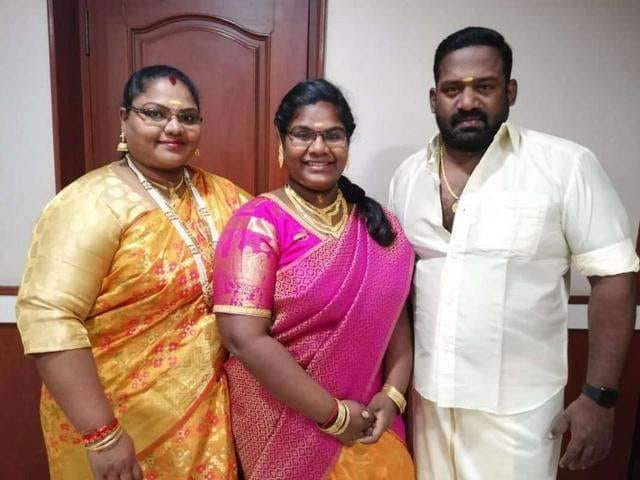 Indraja Shankar with her father and mother