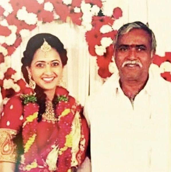Lasya Manjunath with her Father