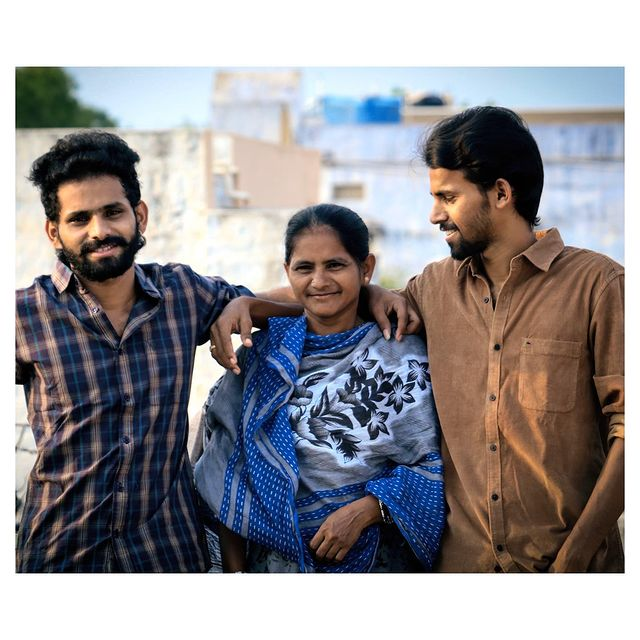 Sadam with his Mother and Brother