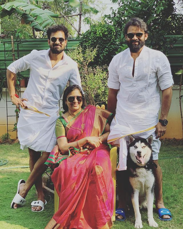 Sai Dharam Tej with his Mother and Brother