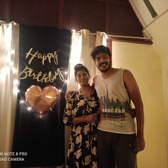 Vinoth with his wife
